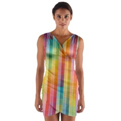 Background Colorful Abstract Wrap Front Bodycon Dress