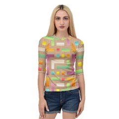 Abstract Background Colorful Quarter Sleeve Raglan Tee by Nexatart