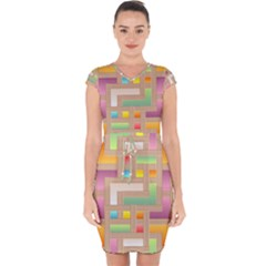 Abstract Background Colorful Capsleeve Drawstring Dress