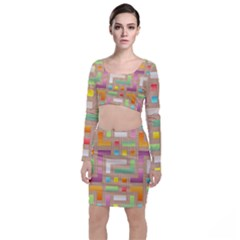 Abstract Background Colorful Long Sleeve Crop Top & Bodycon Skirt Set by Nexatart