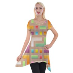 Abstract Background Colorful Short Sleeve Side Drop Tunic