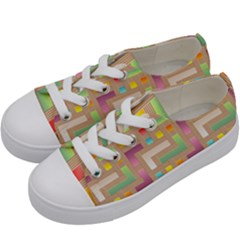 Abstract Background Colorful Kids  Low Top Canvas Sneakers by Nexatart
