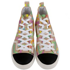 Abstract Background Colorful Men s Mid Top Canvas Sneakers