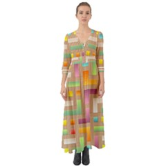 Abstract Background Colorful Button Up Boho Maxi Dress