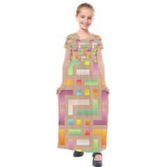 Abstract Background Colorful Kids  Short Sleeve Maxi Dress