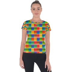 Background Colorful Abstract Short Sleeve Sports Top