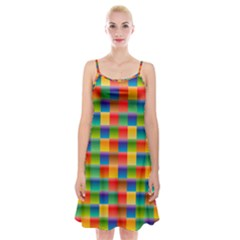 Background Colorful Abstract Spaghetti Strap Velvet Dress