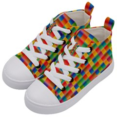 Background Colorful Abstract Kid s Mid Top Canvas Sneakers by Nexatart