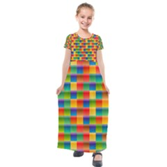 Background Colorful Abstract Kids  Short Sleeve Maxi Dress