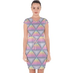Background Colorful Triangle Capsleeve Drawstring Dress