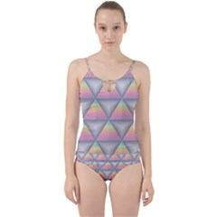 Background Colorful Triangle Cut Out Top Tankini Set