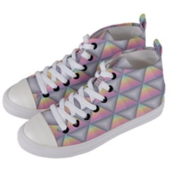 Background Colorful Triangle Women s Mid Top Canvas Sneakers by Nexatart
