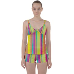 Background Colorful Abstract Tie Front Two Piece Tankini