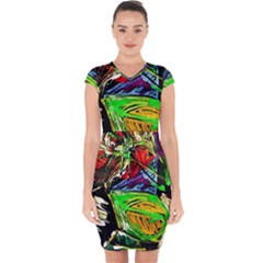 Lillies In The Terracotta Vase 1 Capsleeve Drawstring Dress