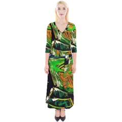 Lillies In The Terracota Vase 5 Quarter Sleeve Wrap Maxi Dress