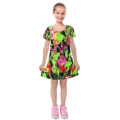 Spring Ornaments Kids  Short Sleeve Velvet Dress