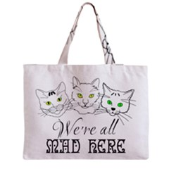 Funny Cats  We Are All Mad Here Zipper Medium Tote Bag by FunnyCow