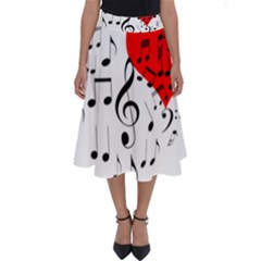 Singing Heart Perfect Length Midi Skirt by FunnyCow