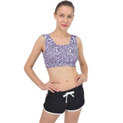 Colorful Intricate Tribal Pattern V Back Sports Bra
