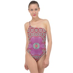 Fantasy Flowers In Everything That Is Around Us In A Free Environment Classic One Shoulder Swimsuit