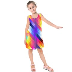 Abstract Background Colorful Pattern Kids  Sleeveless Dress