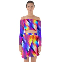 Abstract Background Colorful Pattern Off Shoulder Top With Skirt Set