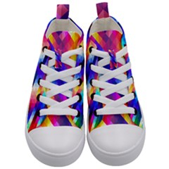 Abstract Background Colorful Pattern Kid s Mid Top Canvas Sneakers
