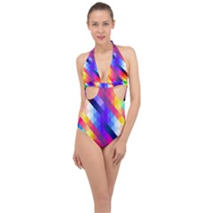 Abstract Background Colorful Pattern Halter Front Plunge Swimsuit