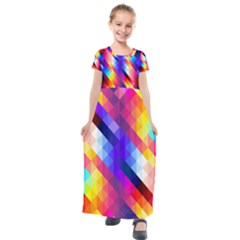 Abstract Background Colorful Pattern Kids  Short Sleeve Maxi Dress