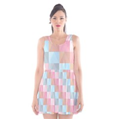 Abstract Pattern Background Pastel Scoop Neck Skater Dress