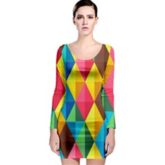 Background Colorful Abstract Long Sleeve Bodycon Dress