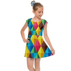 Background Colorful Abstract Kids Cap Sleeve Dress