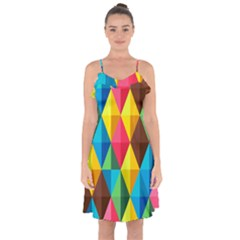 Background Colorful Abstract Ruffle Detail Chiffon Dress