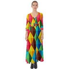 Background Colorful Abstract Button Up Boho Maxi Dress