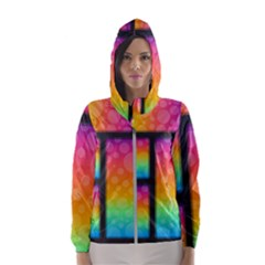 Background Colorful Abstract Hooded Windbreaker (women)
