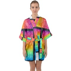 Background Colorful Abstract Quarter Sleeve Kimono Robe