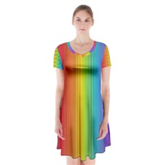 Background Colorful Abstract Short Sleeve V Neck Flare Dress
