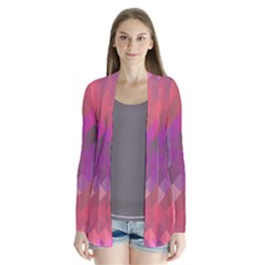 Abstract Background Colorful Pattern Drape Collar Cardigan