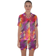 Abstract Background Colorful Pattern Satin Short Sleeve Pyjamas Set