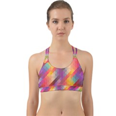 Abstract Background Colorful Pattern Back Web Sports Bra