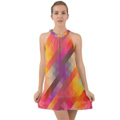 Abstract Background Colorful Pattern Halter Tie Back Chiffon Dress