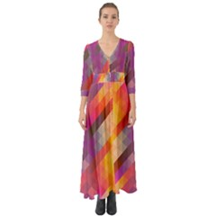 Abstract Background Colorful Pattern Button Up Boho Maxi Dress by Nexatart