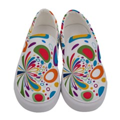 Light Circle Background Points Women s Canvas Slip Ons