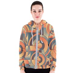 Background Abstract Orange Blue Women s Zipper Hoodie
