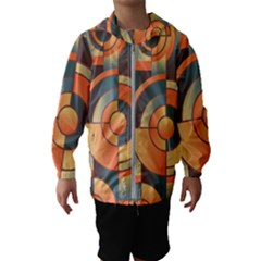 Background Abstract Orange Blue Hooded Windbreaker (kids)