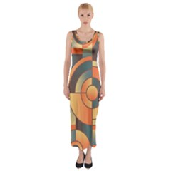 Background Abstract Orange Blue Fitted Maxi Dress
