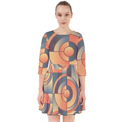 Background Abstract Orange Blue Smock Dress