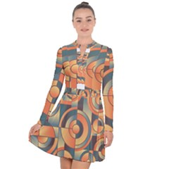 Background Abstract Orange Blue Long Sleeve Panel Dress