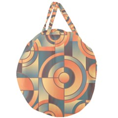 Background Abstract Orange Blue Giant Round Zipper Tote