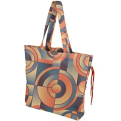 Background Abstract Orange Blue Drawstring Tote Bag